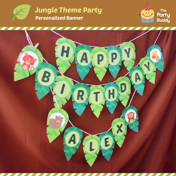 Personalized Jungle Animal Party Banner DIY Digital