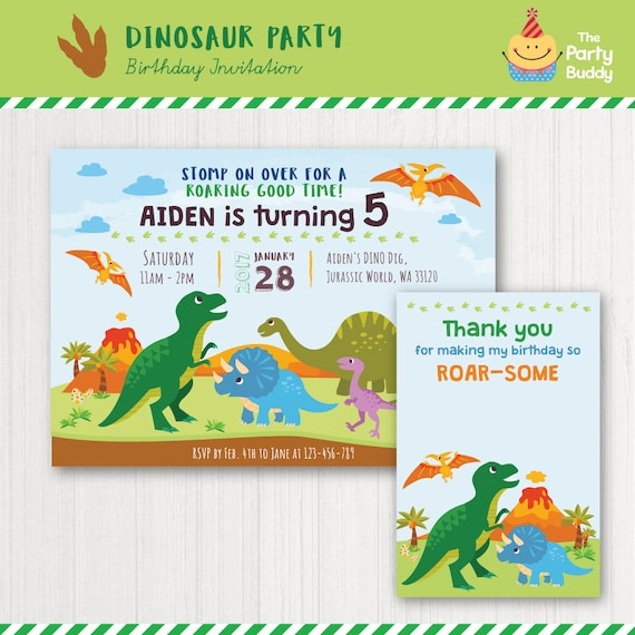 Invitación De Fiesta De Dinosaurios Tarjeta De Agradecimiento Cumpleaños De Los Niños Fiesta Jurásica Prehistórica Digital Imprimible Invitación