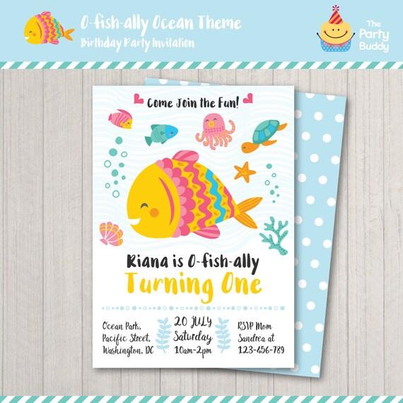 Fish Under The Sea Ofishally One Birthday Party Invitation Etsy