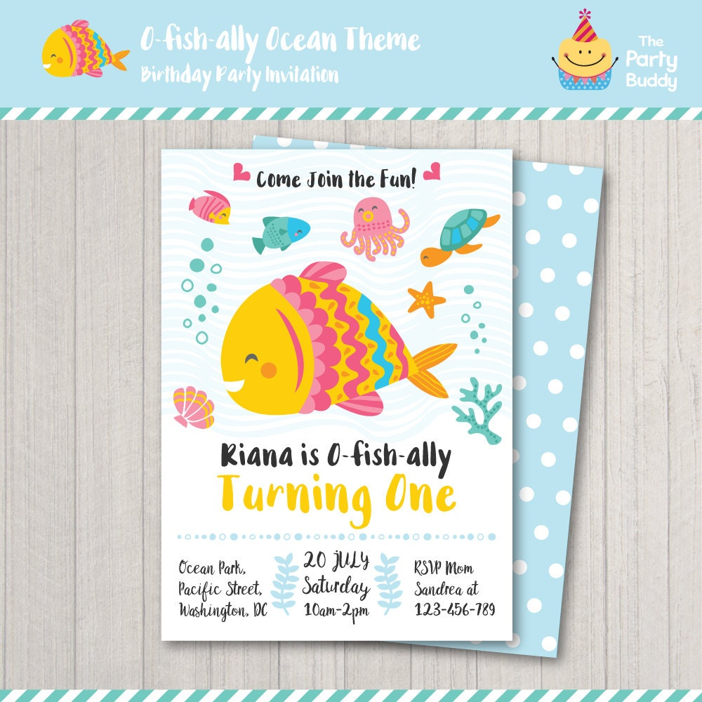 Fish Under The Sea Ofishally One Birthday Party Invitation | Etsy