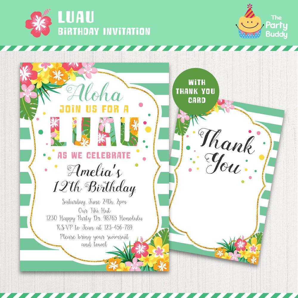 Luau invitación Tropical Aloha hawaiano cumpleaños fiesta en | Etsy