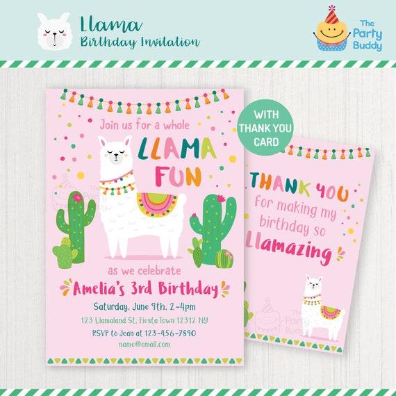 Zaproszenie Na Przyjęcie Urodzinowe Lamy Fiesta Urodziny Etsy
