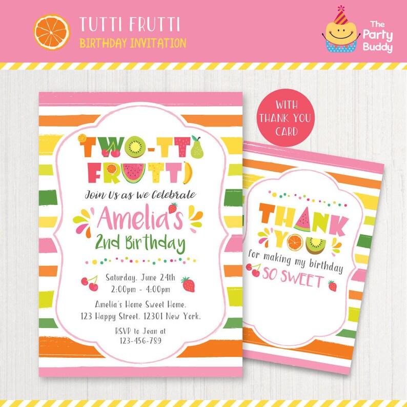 Twotti Frutti 2nd Birthday Invitation Printable Girls Sweet
