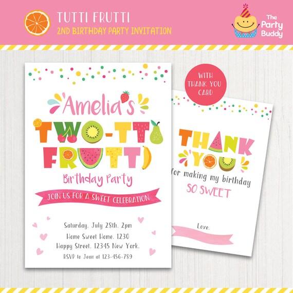 Two tti frutti party invitation printable girls 2nd birthday etsy image 0 filmwisefo