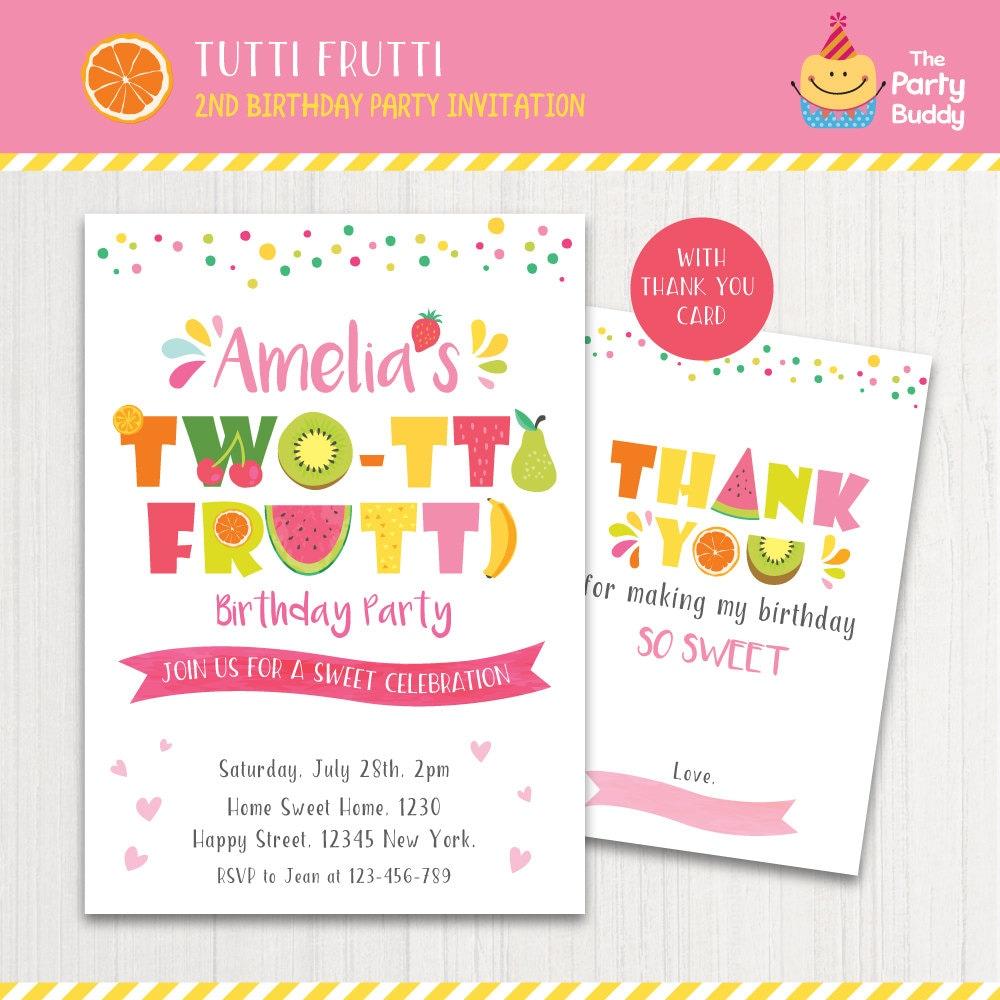 DOS-tti Frutti partido invitación imprimible Chicas 2 º | Etsy