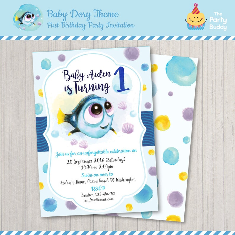 Baby Dory First Birthday Invitation Finding Under The