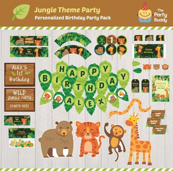 Instant Party Happy Birthday Download DIY Printable 6 pack YOU PRINT Zoo Animals Digital Party Pack