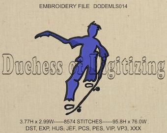 Skateboarder Embroidery Design, Skateboarder Embroidery File, Skater Embroidery Design, Skater Embroidery File, DODEMLS014