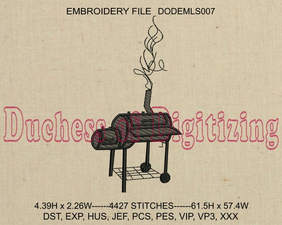 Bbq Grill Embroidery Design Bbq Grill Embroidery File Smoker Etsy