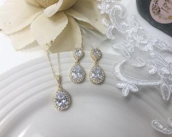 Gold Teardrop Bridal Jewellery Set, Double teardrop earrings and Pendant, Silver gold or Rose gold