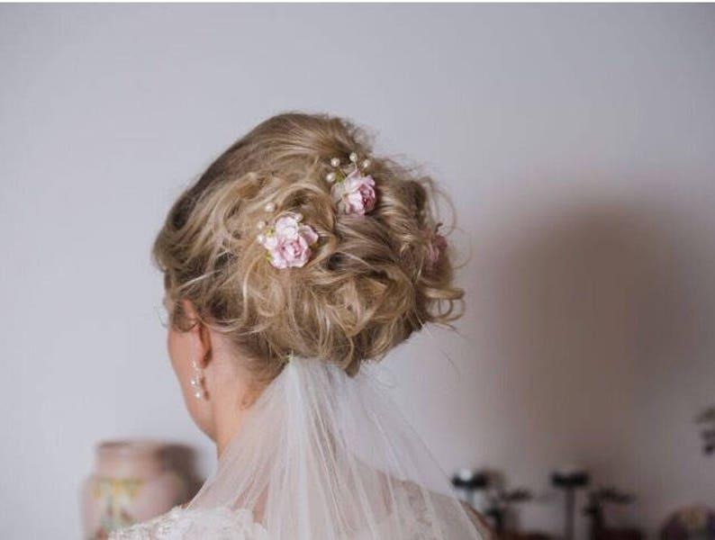 many colous Pink Blush Flower Pearl Hair Pins Hair Piece Bridal Bridesmaid Flower Girl