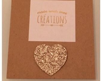 "brooch ""heart"" canvas micropaillettes glitter gold glitter"