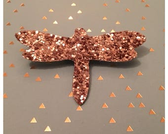 "brooch ""Dragonfly"" canvas glitter - gold glitter"