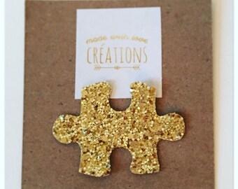 "brooch ""puzzle"" canvas glitter - gold glitter"