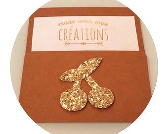 "brooch ""cherry"" canvas glitter - gold glitter"