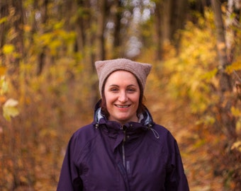 Cat-Hat Knitting Pattern - Aran Weight Knitted Hat - Easy Knitting Pattern for Beginners