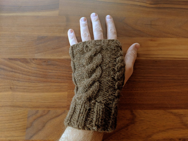 ManKnit Man Mammoth Aran Fingerless Gloves Knitting Pattern  image 0