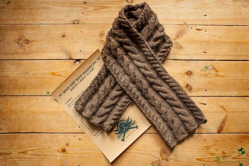 ManKnit Man Mammoth Aran Scarf Knitting Pattern  Men Cable image 0