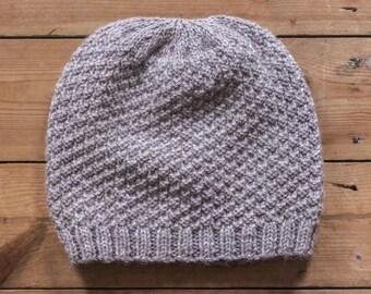 ManKnit Mr. Slouchy Unisex Aran Beanie Hat Pattern - Slouch Style Knitted Beanie Hat Pattern PDF