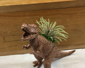 Metallic copper hand refinished , repurposed toy dinosaur planter. Perfect size for small plant.(PLANT NOT INCLUDED) Charming gift !!!
