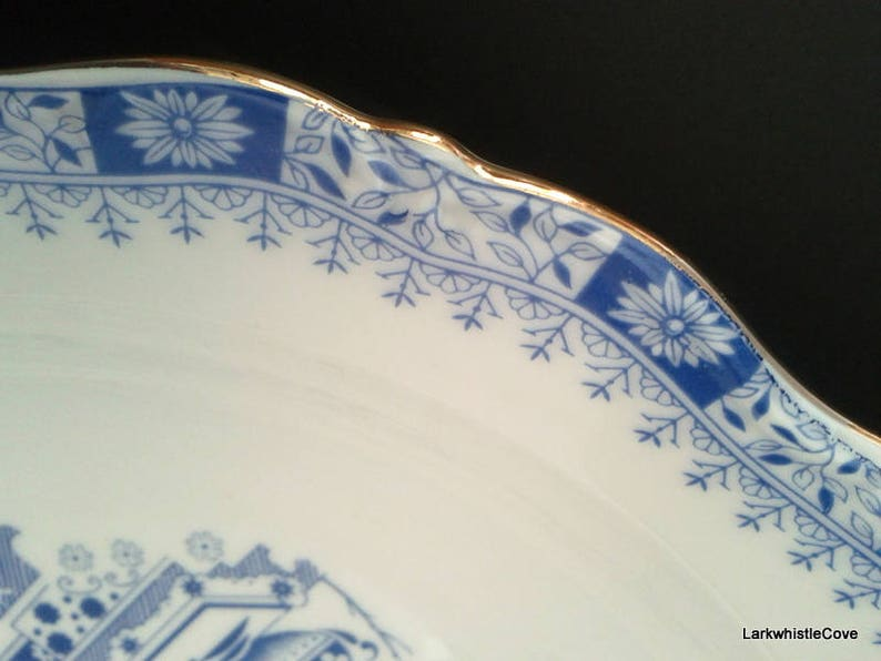 Seltmann Weiden Dorothea Vegetable Bowl China Blau Blue and White Large 10 12 Serving Bowl Bone China Bavaria West Germany Vegetable Bowl