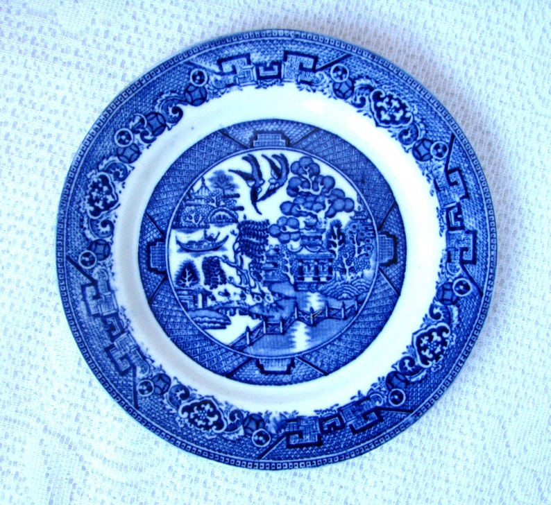 Pottery, Porcelain & Glass Ironstone England Porcelain Blue And White Willow Small Plate,set Of 5 Buy One Get One Free