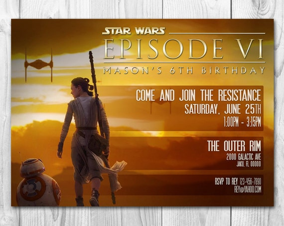 Star Wars Birthday Invitations The Force Awakens