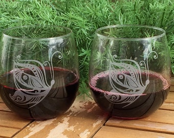 Stemless Wine Glasses-Engraved-Butterfly-(Set of 6)