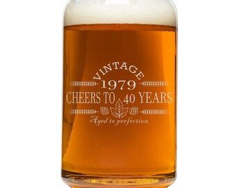 Birthday Beer Can Glass 40th Gift For Men And Women 1979 Vintage Cheers To 40 Years Aged Perfection