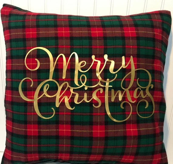 """Hadley Red and Black Plaid 16/"""" x 16/"""" or 18/""""x18/""""// Flannel Pillow Cover"""