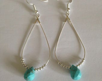 Earring silver, seed beads and turquoise stone in metal