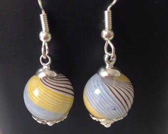 Earring glass yellow, Brown, blue and white