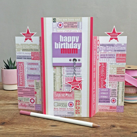Year You Were Born Birthday Card Pink