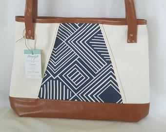 Blue Brown Off White Faux Leather Handbag, Tote Bag, Travel Bag, Diaper Bag, Laptop Bag, Large Handbag, Work Bag, Geometric