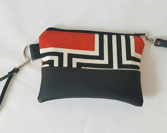 Red Black White Wristlet, Wristlet Wallet, Womens Wallet, Faux Leather, Small Crossbody, Phone Wallet, Wristlet Purse, Geometric Print, Gift