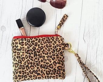 Leopard Cork Purse, Cork Wallet, Cork Bag, Cork Wristlet, Cork Clutch, Leopard Print, Cork Leather, Wristlet Bag, Cork Gift, Leopard Bag