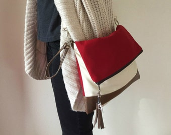 Red Tan Crossbody Bag, Brown Faux Leather Bag, Crossbody Purse, Clutch Purse, Shoulder Bag, Wristlet Purse, Gift For Her, Mothers day gift