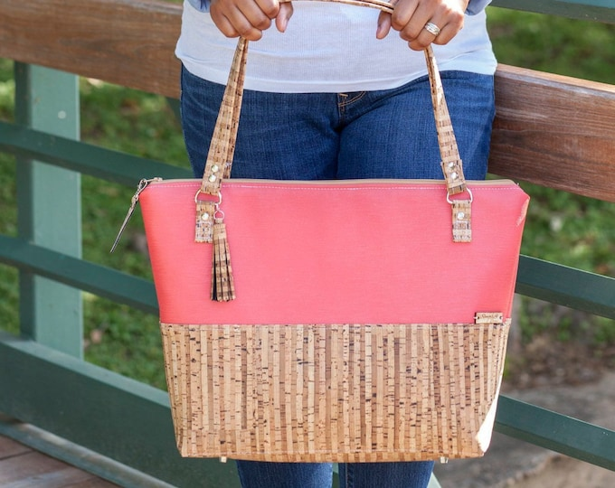 Featured listing image: Work Bag, Work Tote, Coral Bag, Laptop Bag, Cork Bag, Everyday Bag, Faux Leather, Coral Tote, Cork Handbag, Cork Leather, Cork Fabric