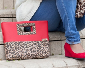 Cork Purse, Clutch Purse, Leopard Print, Cork Clutch, Cork Leather, Red Faux Leather, Cork Bag, Cork Handbag, Cork Gift, Leopard Gift