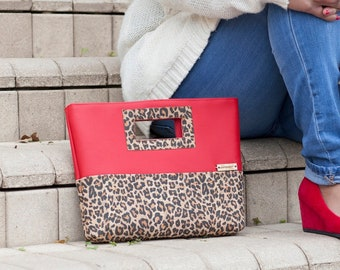 Cork Purse, Clutch Purse, Leopard Print, Cork Clutch, Cork Leather, Red Faux Leather, Cork Bag, Cork Handbag, Cork Gift, Leopard Gift