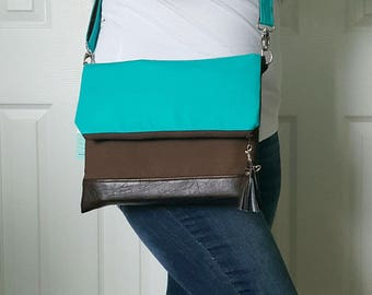 Teal Crossbody Bag, Crossbody Purse, Brown Crossbody, Crossbody Strap, Brown Faux Leather, Clutch Bag, Crossbody Handbag, Mothers day gift