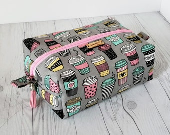 Gray Makeup Bag, Coffee Makeup Bag, Cosmetic Bag, Toiletry Bag Women, Makeup Box Bag, Makeup Case, Cosmetic Pouch, Makeup Pouch, Large Bag