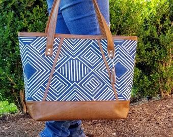 Work Bag Women, Work Tote, Laptop Bag, Everyday Bag, Travel Bag, Faux Leather Bag, Canvas Bag, Navy Blue Bag, Geometric, Water Resistant Bag