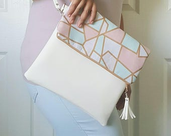 Pink Teal Clutch Bag, Pastel Clutch Purse, Faux Leather Clutch, Large Clutch, Leather Clutch, Wristlet Clutch, White Gold Clutch, Gift