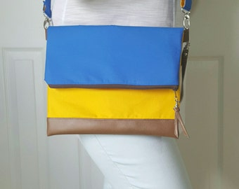 Blue Crossbody Bag, Crossbody Purse, Yellow Crossbody, Crossbody Strap, Brown Faux Leather, Clutch Bag, Crossbody Handbag, Mothers day gift