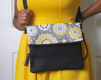 Yellow Crossbody Bag, Crossbody Purse, Floral Crossbody, Crossbody Strap, Faux Leather, Clutch Bag, Crossbody Handbag, Mothers day gift