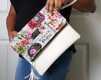 Pink Green Clutch Bag, Paris Clutch Purse, Faux Leather Clutch, Large Clutch, Leather Clutch, Wristlet Clutch, White Paris Clutch, Gift Idea