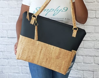 Work Bag Women, Work Tote, Laptop Bag, Cork Bag, Everyday Bag, Travel Bag, Faux Leather Bag, Black, Cork Handbag, Cork Purse, Cork Fabric