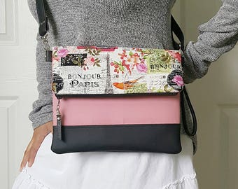 Paris Crossbody Bag, Crossbody Purse, Pink Crossbody, Crossbody Strap, Black Faux Leather, Clutch Bag, Crossbody Handbag, Mothers day gift