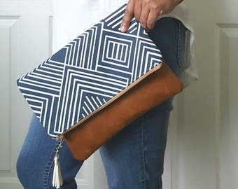 Blue White Clutch Bag, Clutch Purse, Faux Leather Clutch, Large Clutch, Leather Clutch, Wristlet Clutch, Geometric Clutch Purse, Gift Idea